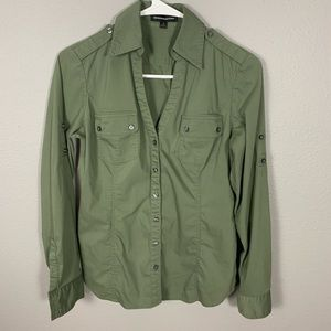 Express Shirt Green Long Sleeve Button Down Shirt